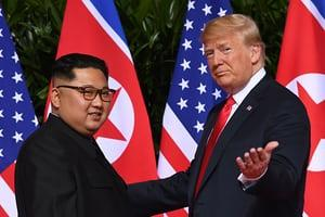 Trump and Kim meet - view their handshake