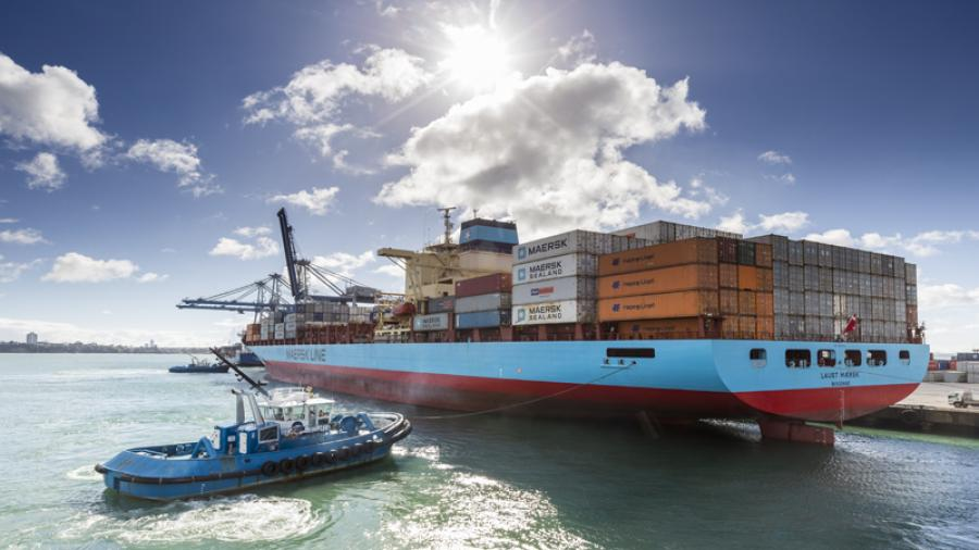 Three giant container cranes arriving at Ports of Auckland