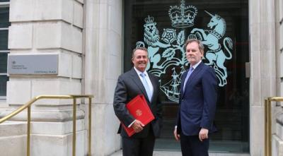 International Trade Secretary Liam Fox (left) with the Government's new chief trade negotiation adviser Crawford Falconer (DIT/PA)