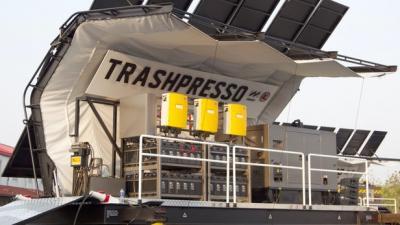 "Portable ""Trashpresso"" up-cycling plant transforms trash into tiles"