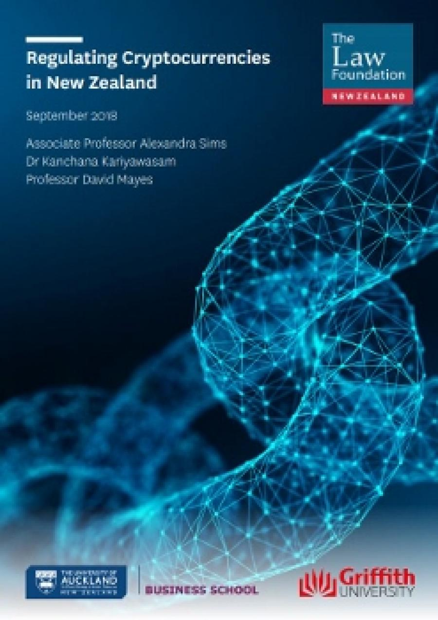 Photo of cover of research report Regulating Cryptocurrencies in New Zealand