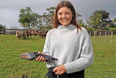 Nicola Austin and her lamb docking iron.