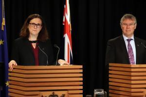 Dr Cecilia Malmström, European Union Commissioner for Trade at podium in Beehive Theatrette with Trade Minister David Parker.