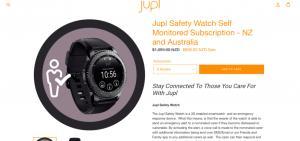 A screenshot from the website advertising the Jupl smart watch