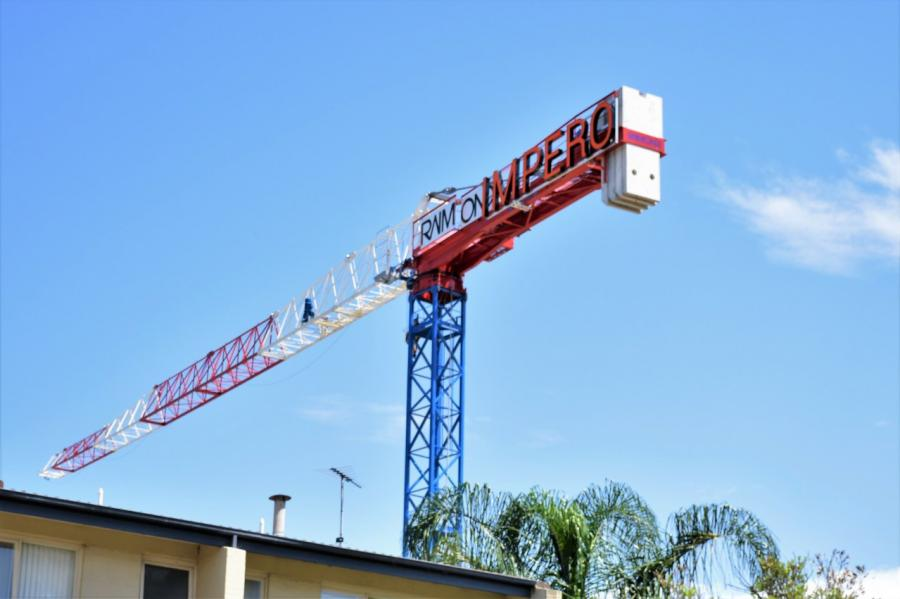 MRT48 erected on Platine Property Development jobsite with builder Impero Constructions. HLD was engaged by Strictly Cranes for tower crane placement and base design engineering