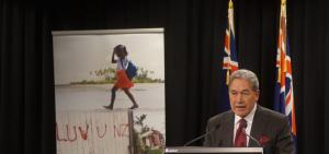 Foreign Affairs Minister Winston Peters at the Government's pre-Budget announcement on foreign affairs funding.