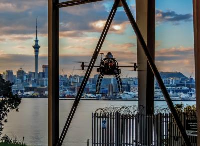 Inspecting the Auckland Harbour Bridge by drone.