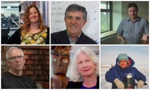 Clockwise from top left: Nicola Gaston, Paul Callaghan, Shaun Hendy, Paul Callaghan in Antarctica, Anne Salmond, Bill Manhire