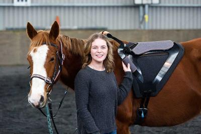 James Dyson award winner and Massey University industrial design graduate Holly Wright with her therapeutic equestrian saddle for disabled riders.