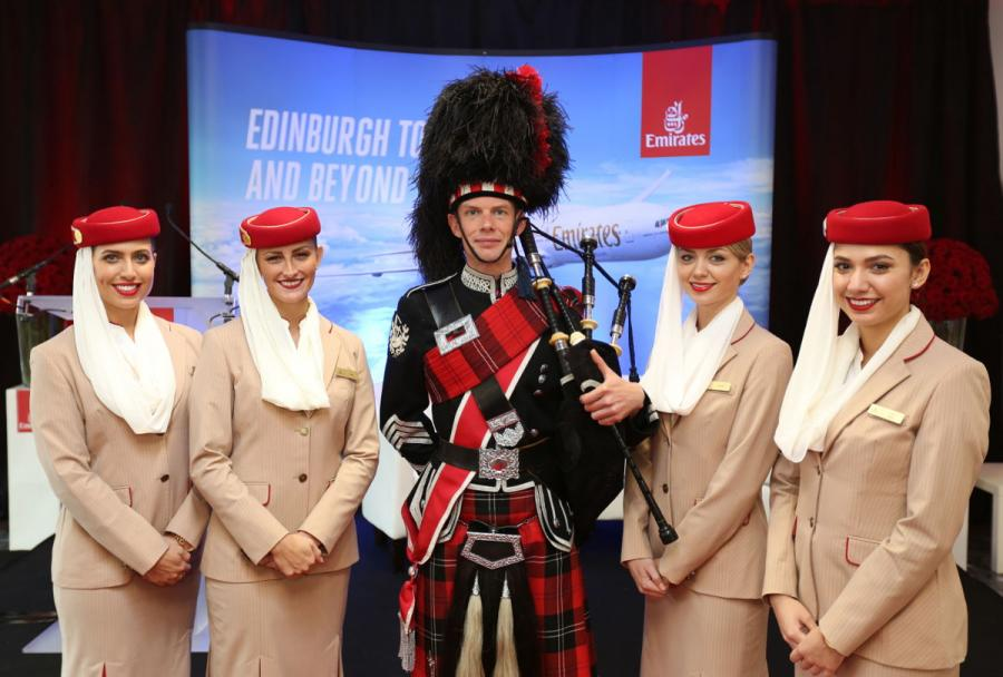 Emirates is welcomed to Edinburgh Airport by a Scottish bagpiper.