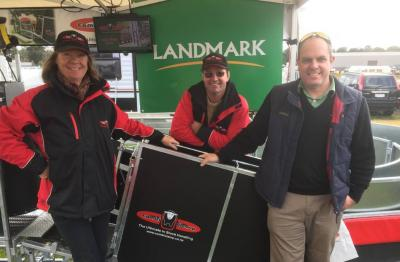 Lynley and Wayne Coffey with David Larson, Landmark Bendigo, at the Bendigo Sheep and Wool Show.