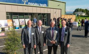 From left to right: John Kippenberger CEO Manuka Health, Hon David Bennett Minister for Food Safety, John Booth Mayor of Carterton, Alastair Scott local MP Wairarapa