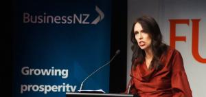 Addressing the elephant in the room, Jacinda Ardern speaks at a Business New Zealand lunch in Wellington.