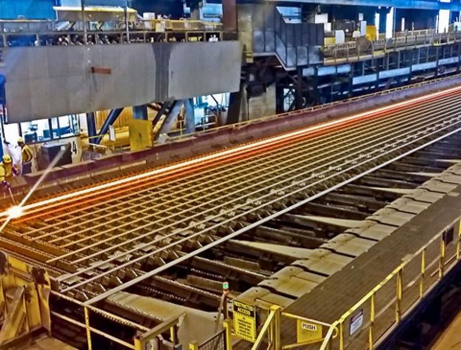 High-strength 50mm diameter reinforcing steel bars in production at Pacific Steel, Ōtāhuhu.