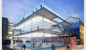 Stackable sports pitches make use of unused urban space