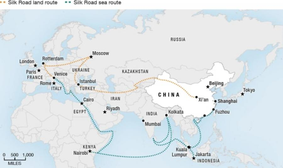 """This map details major stops along the """"New Silk Road,"""