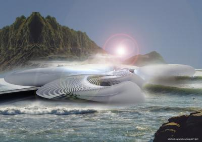 The Harmonic Turbine Tidal Hotel is envisioned for Yalong Bay, on the island of Hainan, China