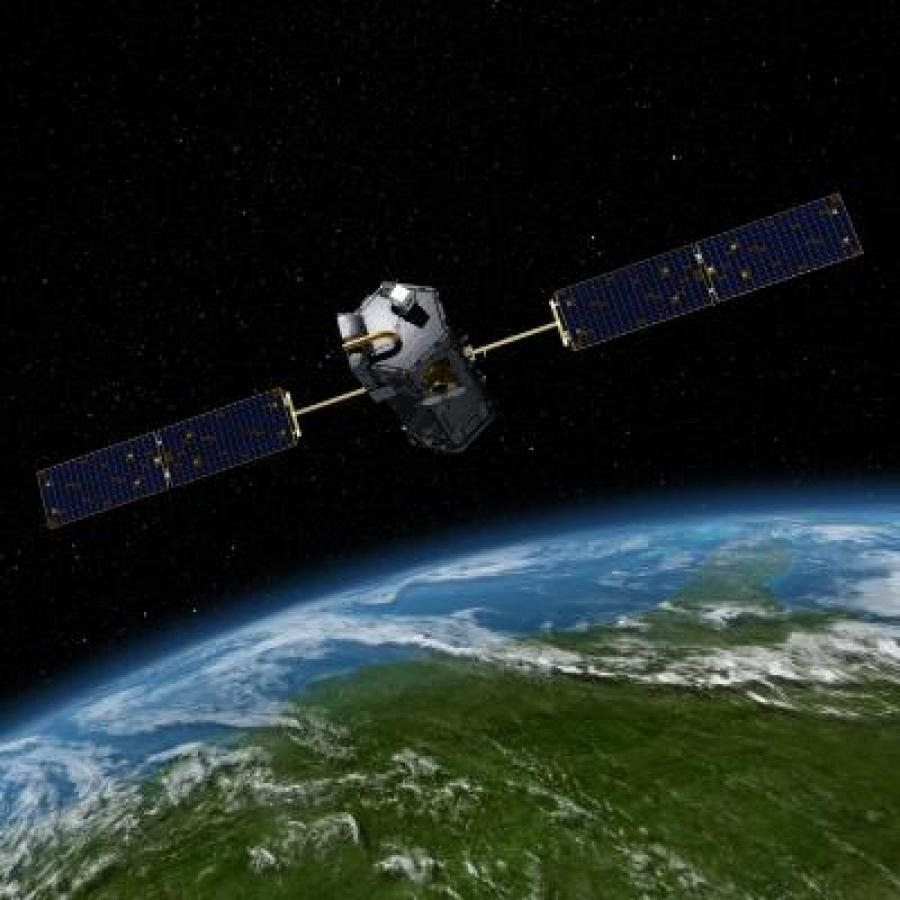 """Artist rendering of OCO-2 Observatory used in the UNH research that measured the plant """"glow """", or solar-induced fluorescence (SIF), produced during photosynthesis from different areas around the globe."""