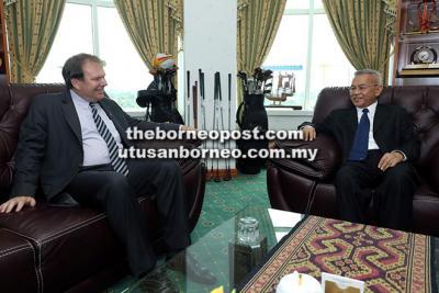 Subritzky (left) converses with Talib (right) at the latter's office at Bangunan Baitul Makmur.