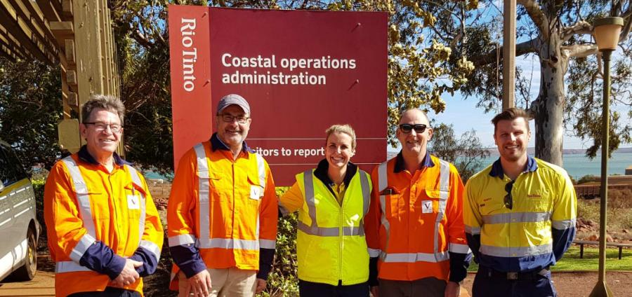During a visit to Rio Tinto's Western Australia operations in June are, from left: DOC's deputy director general of operations Mike Slater, DOC director-general Lou Sanson, Rio Tinto's Dampier Ports operations general manager Jessica Farrell, DOC's director of health and safety Harry Maher, and Rio Tinto's Dampier Ports operations environmental manager Marty Buck. Photo: DOC