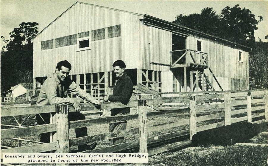 Designer and owner Les Nicholas (left) and Hugh Bridge, picuired in front of the new woolshed.