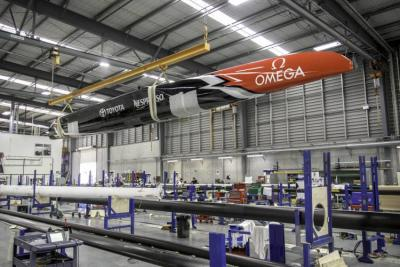 One of the hulls of Team NZ's winning AC50 in the Southern Spars facility in Avondale.