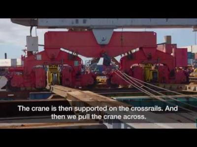 Giant container cranes shifted to prepare for automation