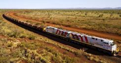 New Locomotives and wagons operating in the Pilbara region of Western Australia.