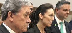 Winston Peters, Jacinda Ardern and James Shaw front the media at the launch of the Government's 30-year plan.