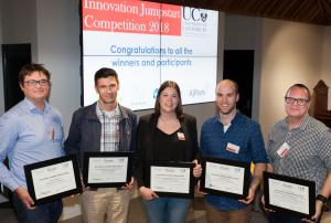 The University of Canterbury's 2018 Innovation Jumpstart winners (from left to right) are: Dr Aaron Marshall, Associate Professor Mathieu Sellier, Dr Jennifer Crowther, Dr Matthew Cowan, and Associate Professor Renwick Dobson. (Photo credit: University of Canterbury)