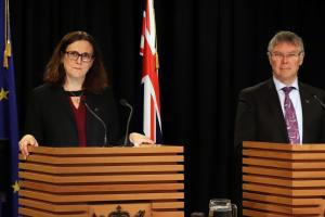 Dr Cecilia Malmström, European Union Commissioner for Trade at podium in Beehive Theatrette with Trade Minister David Parker.