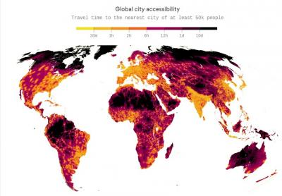 Map showing travel time to nearest city with at least 50 K residents