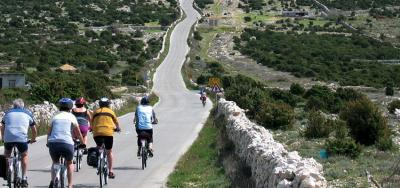 Guide leading the way - cycling in Croatia