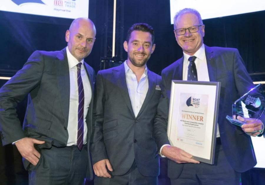 NZ Marine's Peter Busfield (right) receives the award in Amsterdam from Boat Builder Awards presenters Ed Slack and Nick Hopkinson. Read more at http://www.marinebusiness.com.au/news/nz-marine-training-gets-top-marks#shvdhFZOJphlWfCW.99