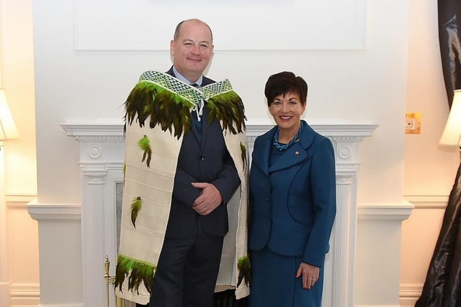 "Ambassador Peter Ryan in a ""Korowai"" Maori cloak with New Zealand Governor General Patsy Reddy, who has Irish ancestral ties to County Laois."