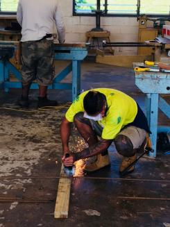 A local carpenter being assessed in Samoa as part of the new Pacific Trades Partnership initiative.