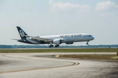 Air New Zealand's newest Dreamliner, ZK-NZL, in North Charleston, South Carolina.