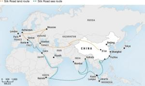 "This map details major stops along the ""New Silk Road,"