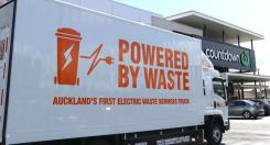 Waste Management NZ Limited, a which operates one of the largest refuse collection fleets in New Zealand, is moving towards electric trucks from EMOSS Image: EMOSS