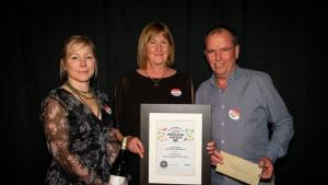Speirs Foods' national sales manager Angela Thompson (left), marketing manager Belinda Bonnor and general manager Ross Kane with the Outstanding New Zealand Food Producers award.