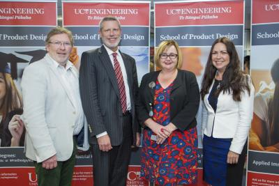 From left to right are: Head of the School of Product Design, Professor Conan Fee, University of Canterbury Vice-Chancellor Dr Rodd Carr, Minister of Research, Science and Innovation Dr Megan Woods, and Pro-Vice Chancellor of the College of Engineering Professor Jan Evans-Freeman at the official opening of the University's new School of Product Design.