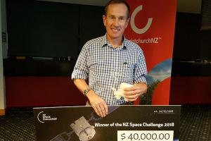 ohn Ahearn from GPS Control Systems takes away $40,000 from his win in the NZ Space Challenge.