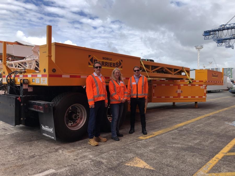 Gary Bonser, AMA Maintenance Manager,  Jennifer Hart, Acting AMA Director and Paul Geck, NZTA Acting System Manager take delivery of the MBT-1 mobile motorway barrier.