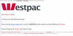 Fake Westpac Phishing Email Points up Urgent Need for Banks to Cooperate with central 0800 Scam Alert