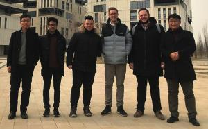 Four Wintec business students Hanjun Nakauchi (second from left), Chanatip Chatchawalit, Jack Hawker and Andy Murray with their Chinese supervisors during their internship for a major commerce website firm.