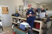 Sid Lockhart, a qualified engineer, is delighted with the donated welding gear from Ara.