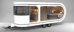 Futuristic camper expands to reveal huge party deck