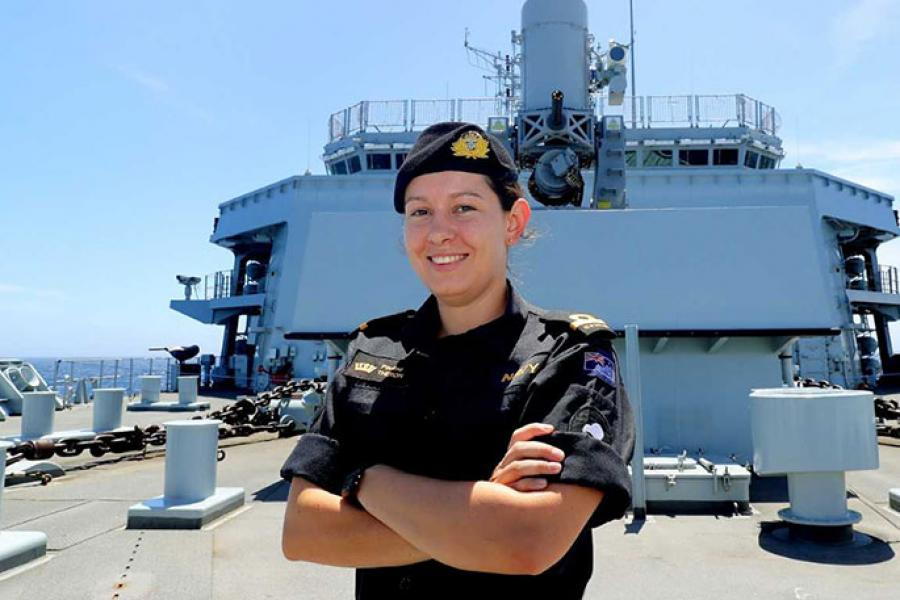 Sub-Lieutenant Pauline Theron, from the Royal New Zealand Navy, is posted until November as Assistant Marine Engineering Officer on HMS Albion, one of the Royal Navy's two amphibious assault ships.