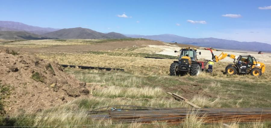 An irrigation pond being built at Simons Pass Station, in the Mackenzie Basin.