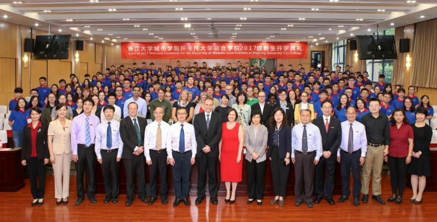 The joint institute's opening ceremony last month saw China and New Zealand representatives join Waikato and ZUCC staff to welcome 230 students to the campus